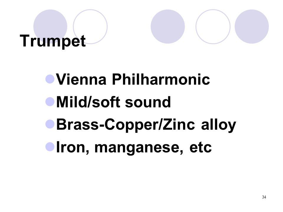 34 Trumpet Vienna Philharmonic Mild/soft sound Brass-Copper/Zinc alloy Iron, manganese, etc