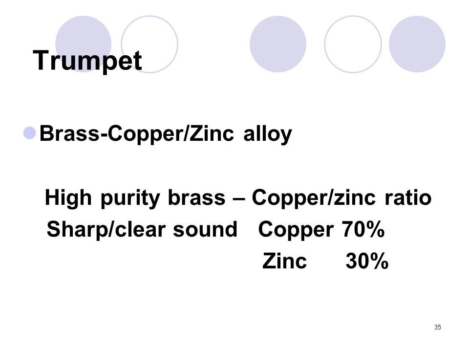 35 Trumpet Brass-Copper/Zinc alloy High purity brass – Copper/zinc ratio Sharp/clear sound Copper 70% Zinc 30%