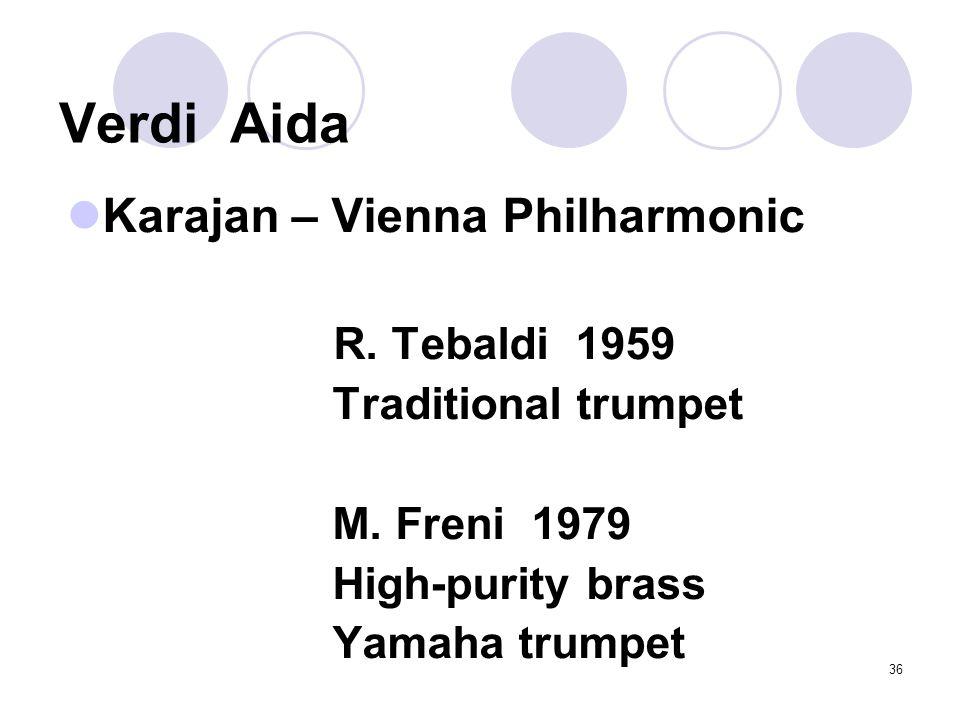 36 Verdi Aida Karajan – Vienna Philharmonic R. Tebaldi 1959 Traditional trumpet M.