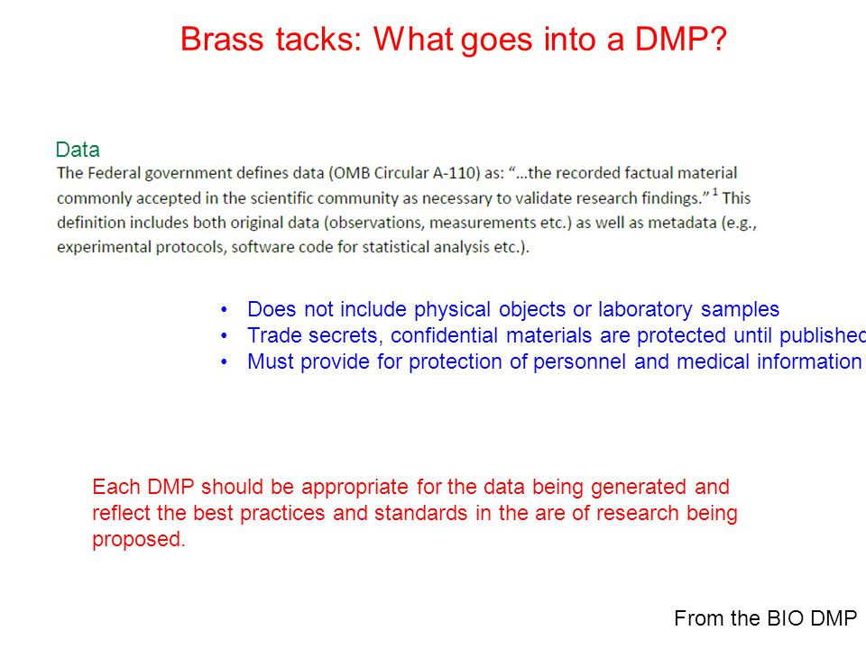 Brass tacks: What goes into a DMP.