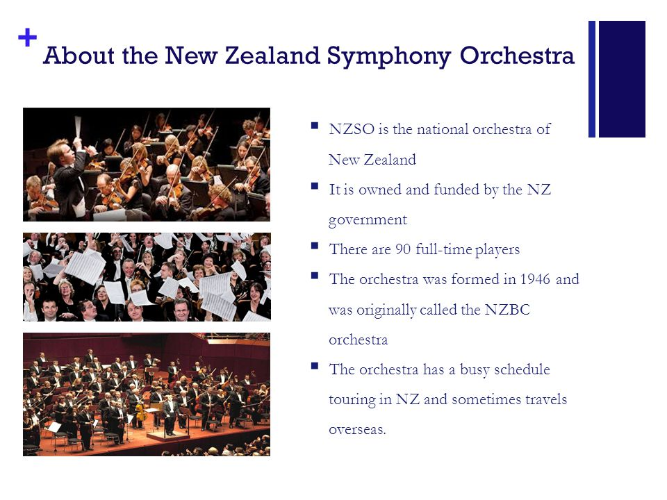 + About the New Zealand Symphony Orchestra  NZSO is the national orchestra of New Zealand  It is owned and funded by the NZ government  There are 90 full-time players  The orchestra was formed in 1946 and was originally called the NZBC orchestra  The orchestra has a busy schedule touring in NZ and sometimes travels overseas.