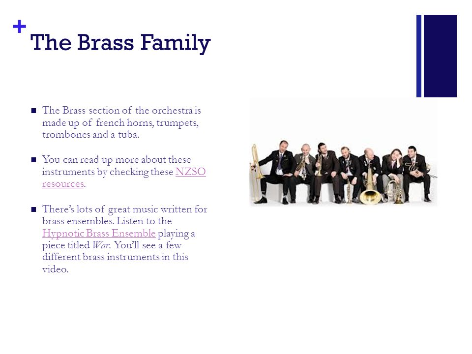 + The Brass Family The Brass section of the orchestra is made up of french horns, trumpets, trombones and a tuba.