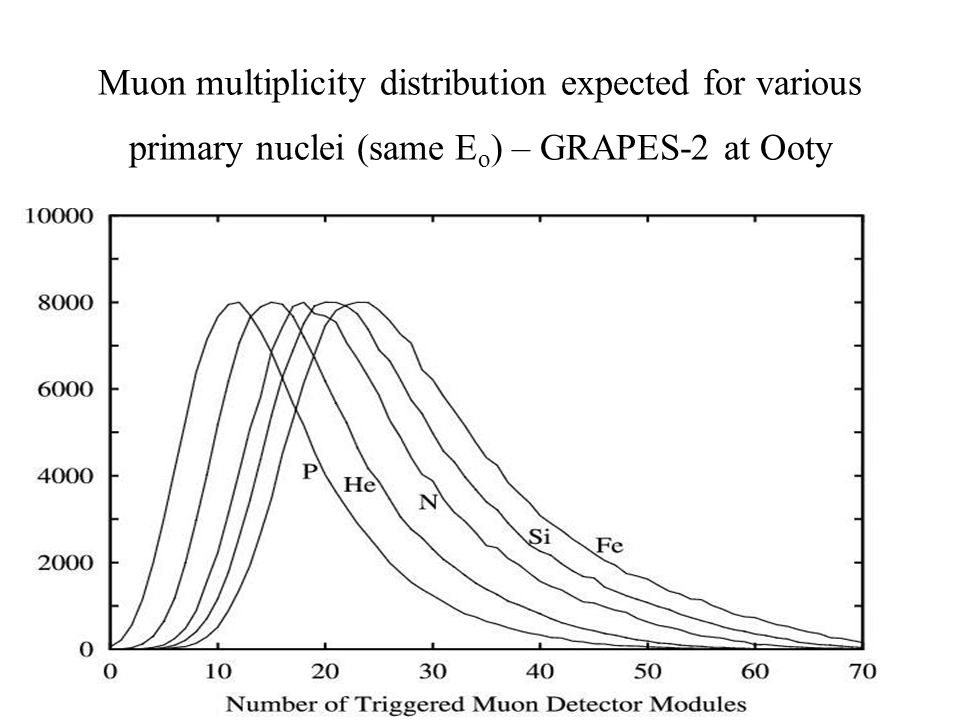 Muon multiplicity distribution expected for various primary nuclei (same E o ) – GRAPES-2 at Ooty