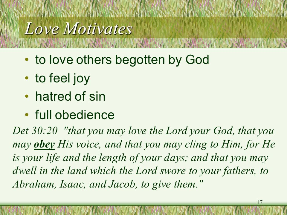 Love Motivates to love others begotten by God to feel joy hatred of sin full obedience Det 30:20