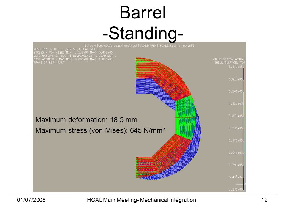 01/07/2008HCAL Main Meeting- Mechanical Integration12 Maximum deformation: 18.5 mm Maximum stress (von Mises): 645 N/mm² Barrel -Standing-