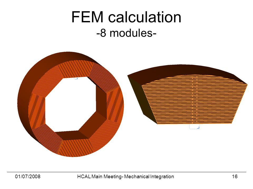 01/07/2008HCAL Main Meeting- Mechanical Integration16 FEM calculation -8 modules-