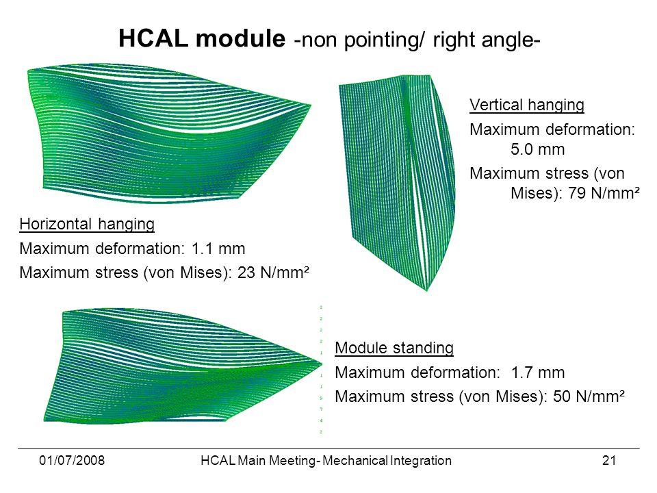 01/07/2008HCAL Main Meeting- Mechanical Integration21 Horizontal hanging Maximum deformation: 1.1 mm Maximum stress (von Mises): 23 N/mm² Module standing Maximum deformation: 1.7 mm Maximum stress (von Mises): 50 N/mm² Vertical hanging Maximum deformation: 5.0 mm Maximum stress (von Mises): 79 N/mm² HCAL module -non pointing/ right angle-