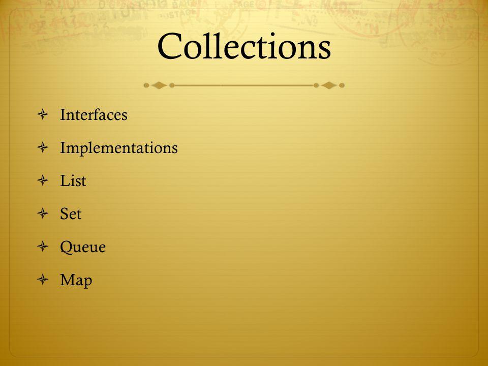 Collections  Interfaces  Implementations  List  Set  Queue  Map