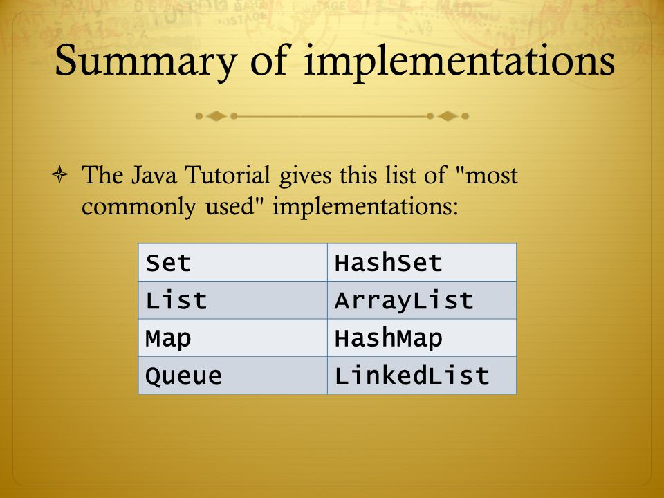 Summary of implementations  The Java Tutorial gives this list of most commonly used implementations: SetHashSet ListArrayList MapHashMap QueueLinkedList