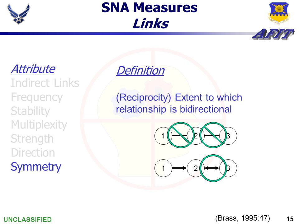 UNCLASSIFIED 15 SNA Measures Links (Brass, 1995:47) Definition (Reciprocity) Extent to which relationship is bidirectional Attribute Indirect Links Frequency Stability Multiplexity Strength Direction Symmetry 123 123