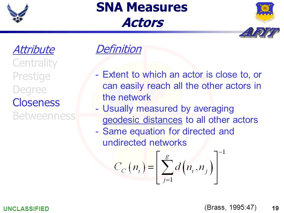 UNCLASSIFIED 19 SNA Measures Actors (Brass, 1995:47) Attribute Centrality Prestige Degree Closeness Betweenness Definition -Extent to which an actor is close to, or can easily reach all the other actors in the network -Usually measured by averaging geodesic distances to all other actors -Same equation for directed and undirected networks