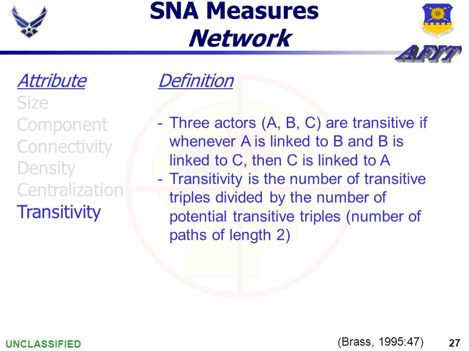 UNCLASSIFIED 27 SNA Measures Network (Brass, 1995:47) Definition -Three actors (A, B, C) are transitive if whenever A is linked to B and B is linked to C, then C is linked to A -Transitivity is the number of transitive triples divided by the number of potential transitive triples (number of paths of length 2) Attribute Size Component Connectivity Density Centralization Transitivity