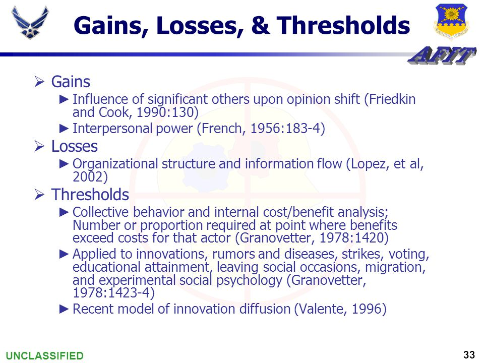 UNCLASSIFIED 33 Gains, Losses, & Thresholds  Gains ► Influence of significant others upon opinion shift (Friedkin and Cook, 1990:130) ► Interpersonal power (French, 1956:183-4)  Losses ► Organizational structure and information flow (Lopez, et al, 2002)  Thresholds ► Collective behavior and internal cost/benefit analysis; Number or proportion required at point where benefits exceed costs for that actor (Granovetter, 1978:1420) ► Applied to innovations, rumors and diseases, strikes, voting, educational attainment, leaving social occasions, migration, and experimental social psychology (Granovetter, 1978:1423-4) ► Recent model of innovation diffusion (Valente, 1996)