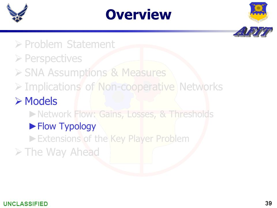 UNCLASSIFIED 39 Overview  Problem Statement  Perspectives  SNA Assumptions & Measures  Implications of Non-cooperative Networks  Models ► Network Flow: Gains, Losses, & Thresholds ► Flow Typology ► Extensions of the Key Player Problem  The Way Ahead