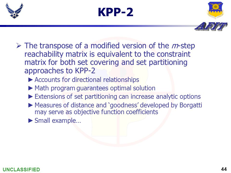 UNCLASSIFIED 44 KPP-2  The transpose of a modified version of the m-step reachability matrix is equivalent to the constraint matrix for both set cove