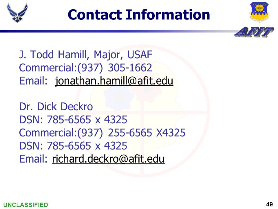 UNCLASSIFIED 49 Contact Information J.
