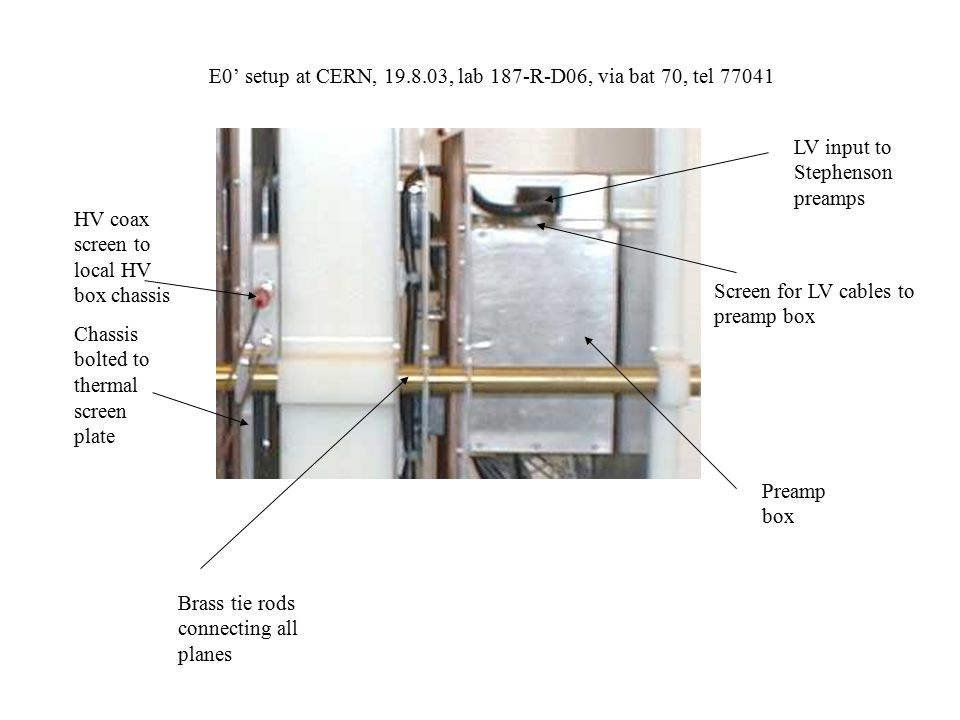 E0' setup at CERN, 19.8.03, lab 187-R-D06, via bat 70, tel 77041 HV coax screen to local HV box chassis Chassis bolted to thermal screen plate Preamp box LV input to Stephenson preamps Screen for LV cables to preamp box Brass tie rods connecting all planes