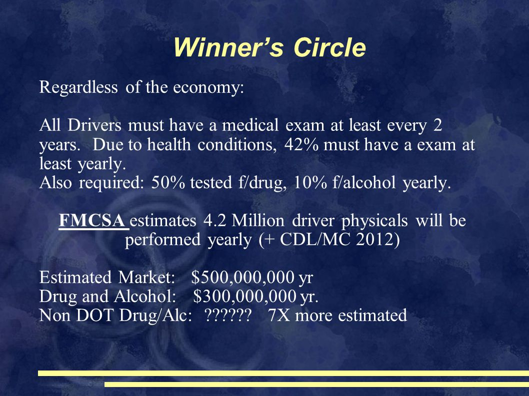 Winner's Circle Regardless of the economy: All Drivers must have a medical exam at least every 2 years.