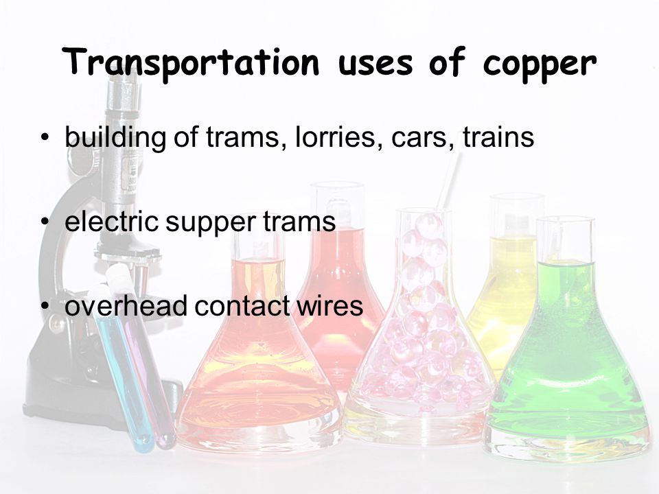 Transportation uses of copper building of trams, lorries, cars, trains electric supper trams overhead contact wires