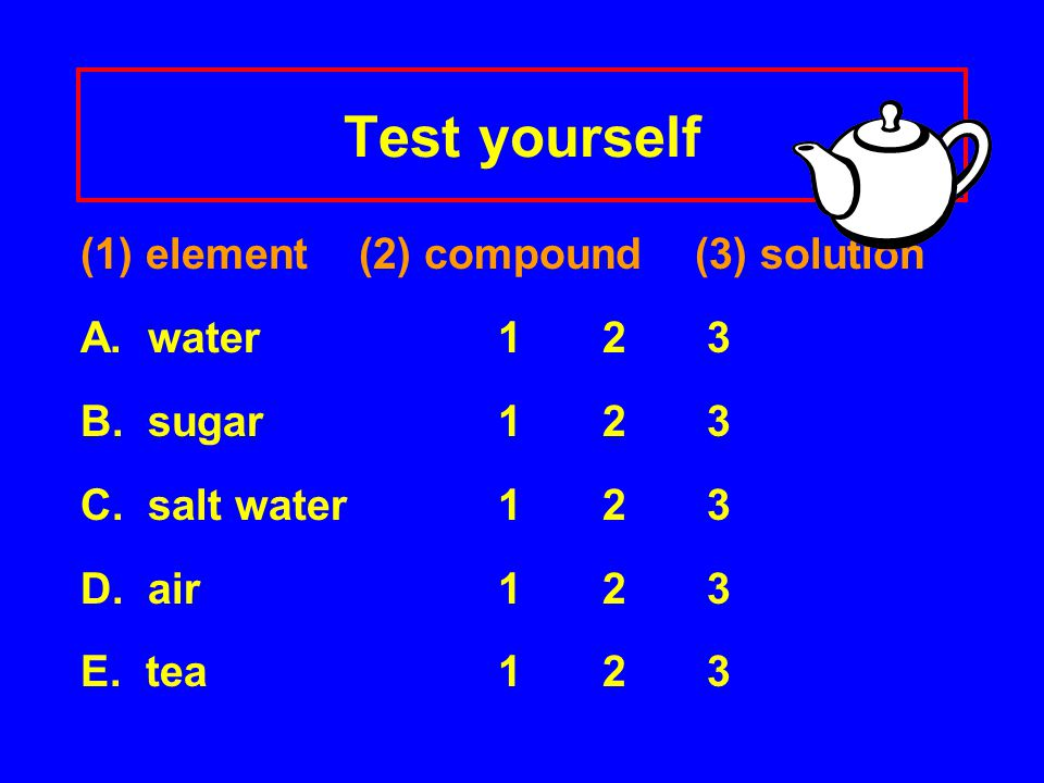 Test yourself (1) element (2) compound (3) solution A. water123 B. sugar 123 C. salt water 123 D. air123 E. tea123