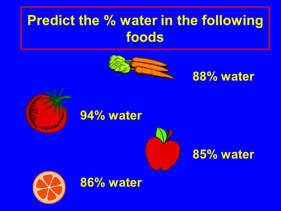 88% water 94% water 85% water 86% water