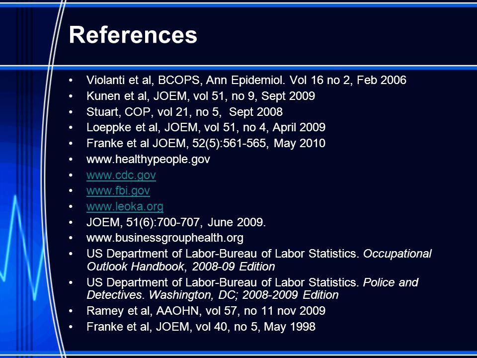 References Violanti et al, BCOPS, Ann Epidemiol.