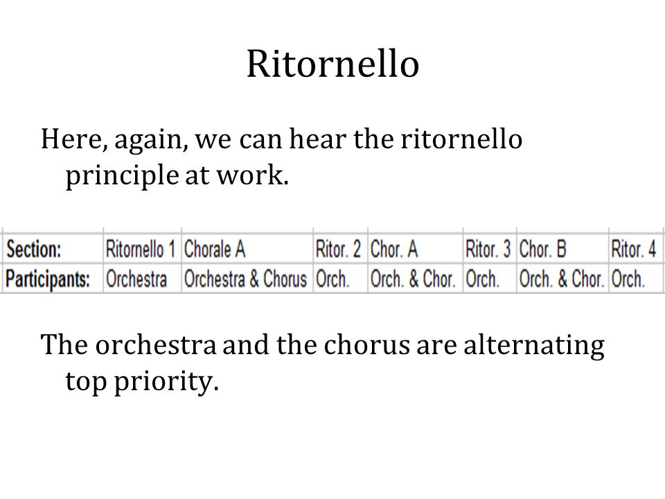 Ritornello Here, again, we can hear the ritornello principle at work.