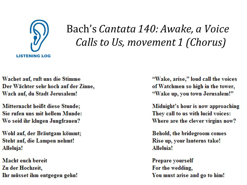 Bach's Cantata 140: Awake, a Voice Calls to Us, movement 1 (Chorus)