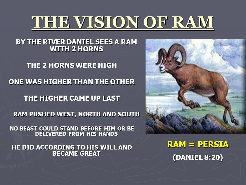 THE VISION OF RAM BY THE RIVER DANIEL SEES A RAM WITH 2 HORNS THE 2 HORNS WERE HIGH ONE WAS HIGHER THAN THE OTHER THE HIGHER CAME UP LAST RAM PUSHED WEST, NORTH AND SOUTH NO BEAST COULD STAND BEFORE HIM OR BE DELIVERED FROM HIS HANDS HE DID ACCORDING TO HIS WILL AND BECAME GREAT RAM = PERSIA (DANIEL 8:20)