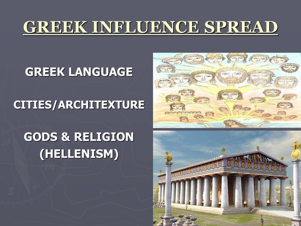 GREEK INFLUENCE SPREAD GREEK LANGUAGE CITIES/ARCHITEXTURE GODS & RELIGION (HELLENISM)