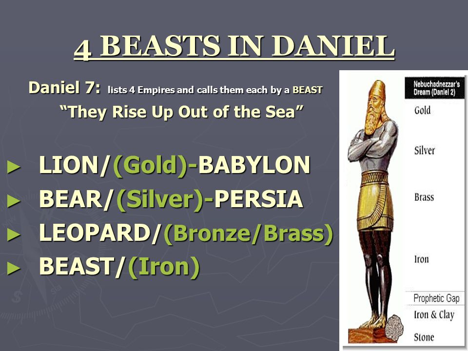 "4 BEASTS IN DANIEL Daniel 7: lists 4 Empires and calls them each by a BEAST ""They Rise Up Out of the Sea"" ► LION/(Gold)-BABYLON ► BEAR/(Silver)-PERSIA"