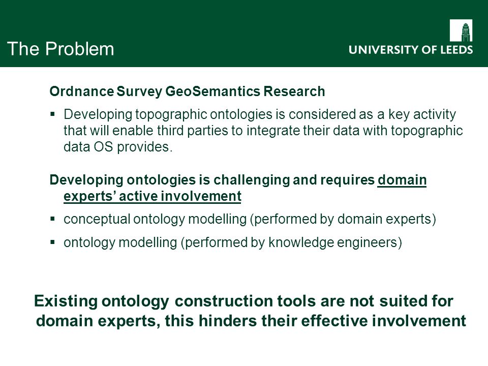 The Problem Ordnance Survey GeoSemantics Research  Developing topographic ontologies is considered as a key activity that will enable third parties to integrate their data with topographic data OS provides.
