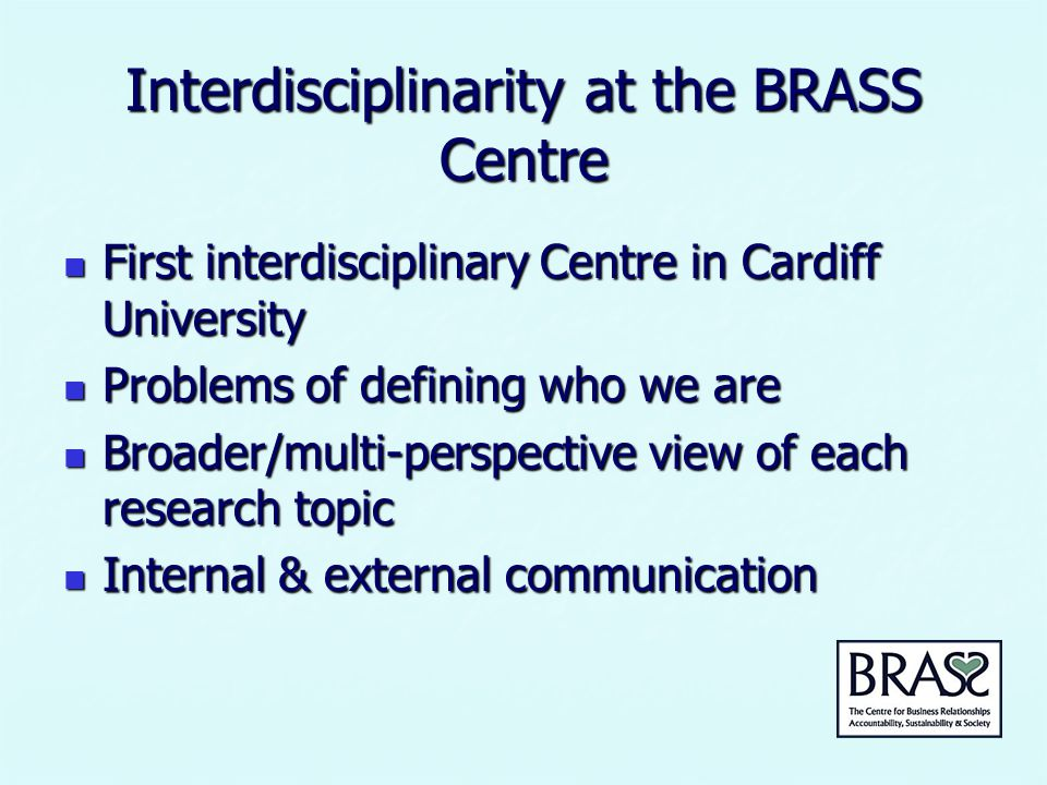 Interdisciplinarity at the BRASS Centre Superthemes: Superthemes: * Socio-Environmental Impacts of Business Activities * Sustainable Consumption and Production * Responsible Management Thinking