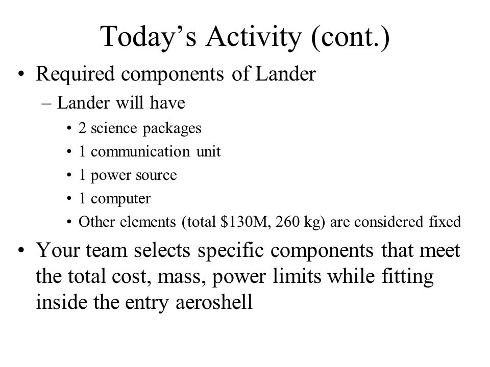 Today's Activity (cont.) Required components of Lander –Lander will have 2 science packages 1 communication unit 1 power source 1 computer Other eleme