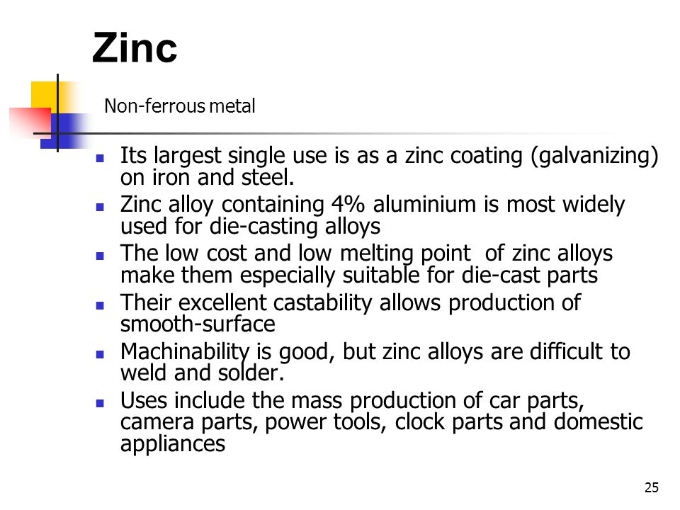 25 Zinc Non-ferrous metal Its largest single use is as a zinc coating (galvanizing) on iron and steel.