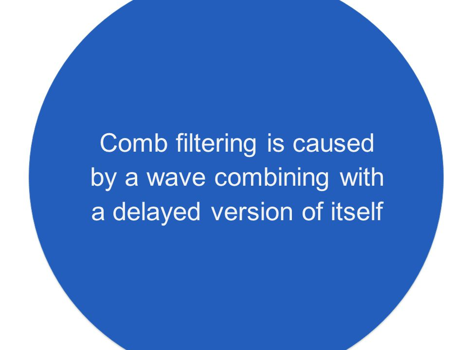 Comb filtering is caused by a wave combining with a delayed version of itself