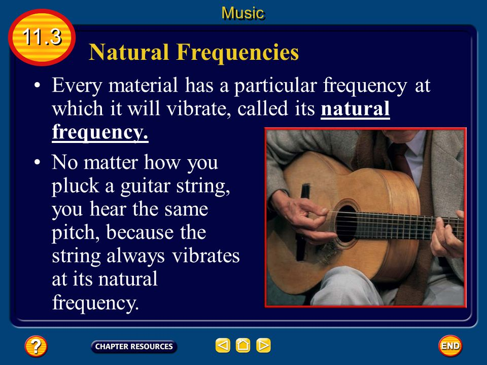 Natural Frequencies Every material has a particular frequency at which it will vibrate, called its natural frequency.