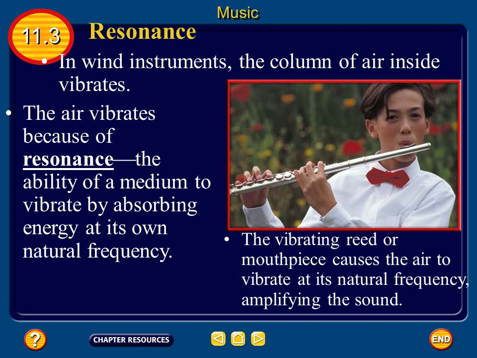 Resonance In wind instruments, the column of air inside vibrates.