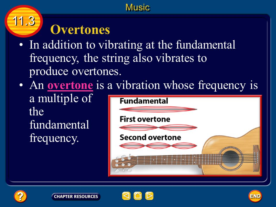 Overtones In addition to vibrating at the fundamental frequency, the string also vibrates to produce overtones.