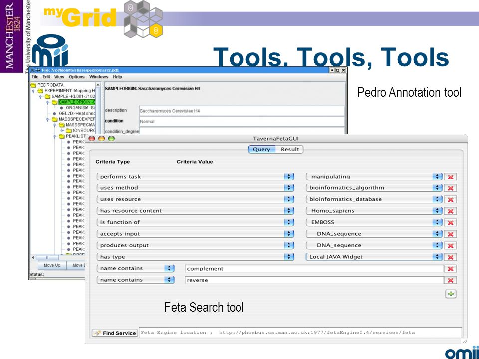 23 Tools, Tools, Tools Feta Search tool Pedro Annotation tool