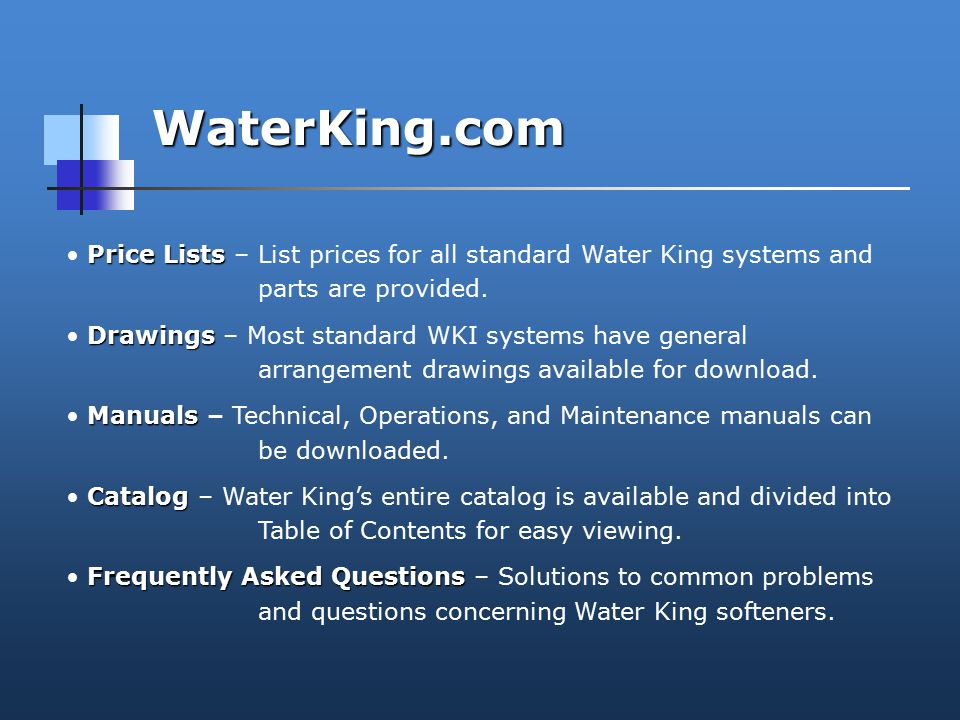 WaterKing.com Price Lists Price Lists – List prices for all standard Water King systems and parts are provided.