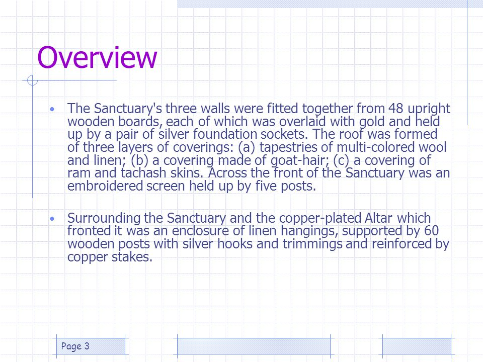 Page 3 Overview The Sanctuary's three walls were fitted together from 48 upright wooden boards, each of which was overlaid with gold and held up by a
