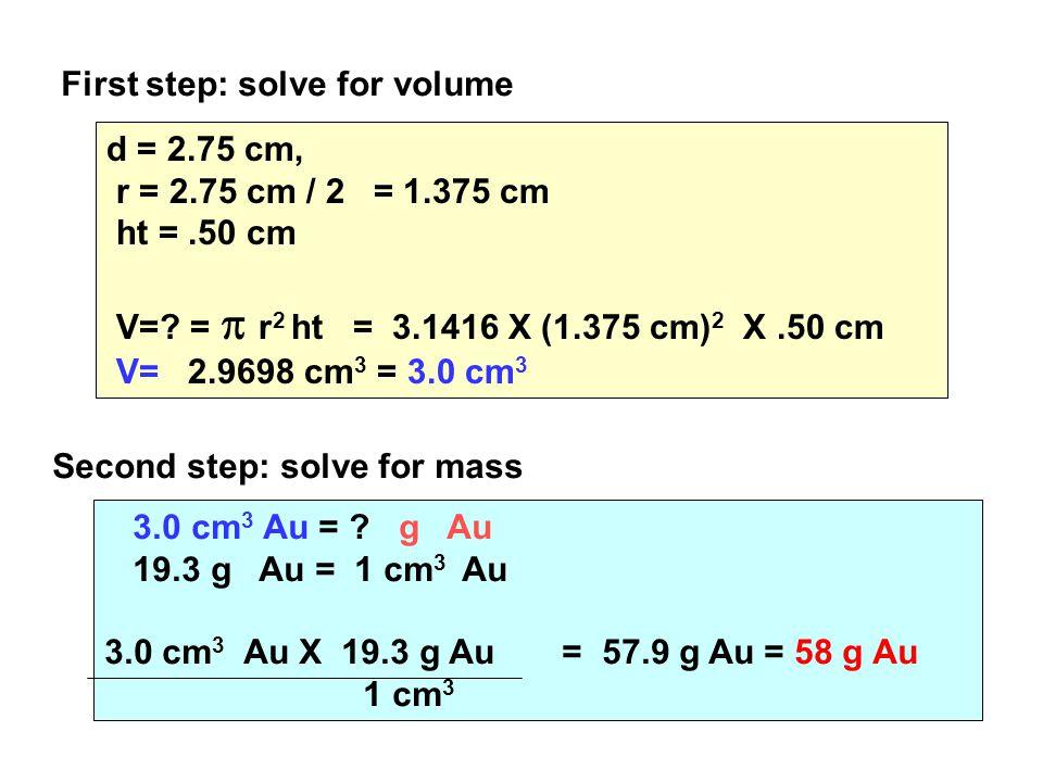 d = 2.75 cm, r = 2.75 cm / 2 = 1.375 cm ht =.50 cm V=.