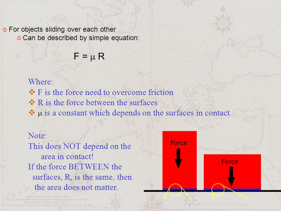 F =  R Why is the area not important.