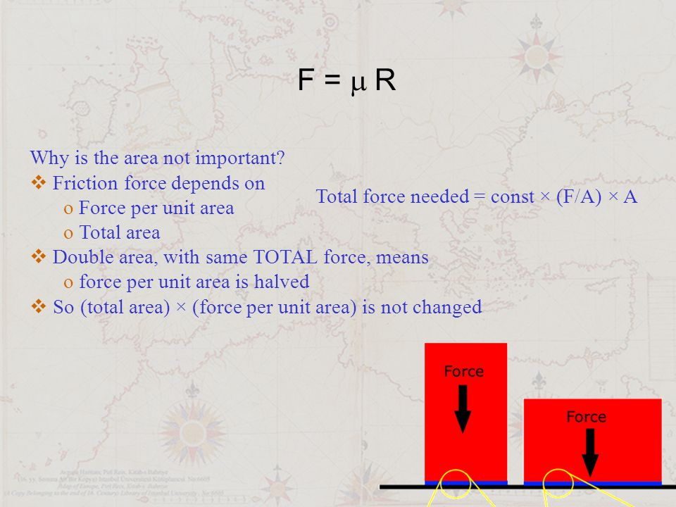 F =  R Why is the area not important?  Friction force depends on o Force per unit area o Total area  Double area, with same TOTAL force, means o f