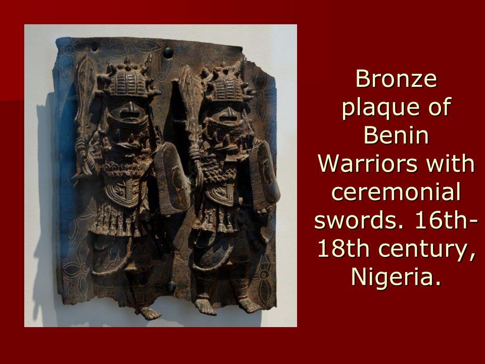 Bronze plaque of Benin Warriors with ceremonial swords.