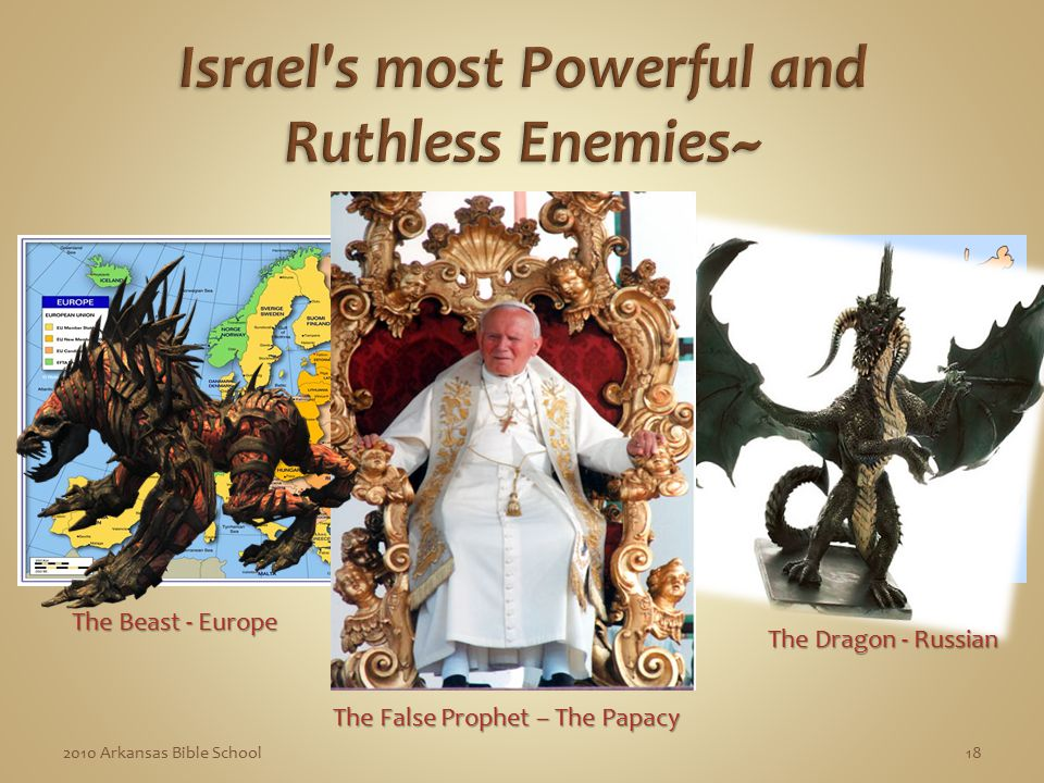 182010 Arkansas Bible School The Beast - Europe The Dragon - Russian The False Prophet – The Papacy