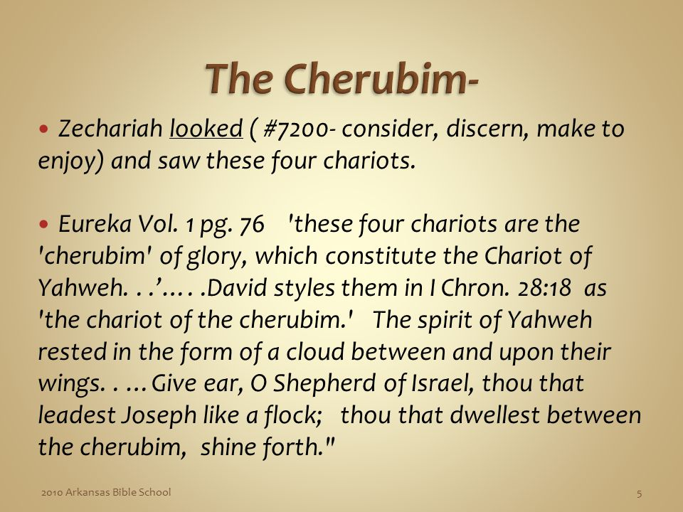 Zechariah looked ( #7200- consider, discern, make to enjoy) and saw these four chariots.