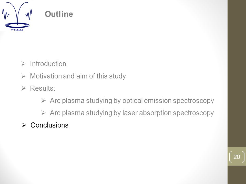 20  Introduction  Motivation and aim of this study  Results:  Arc plasma studying by optical emission spectroscopy  Arc plasma studying by laser absorption spectroscopy  Conclusions Outline