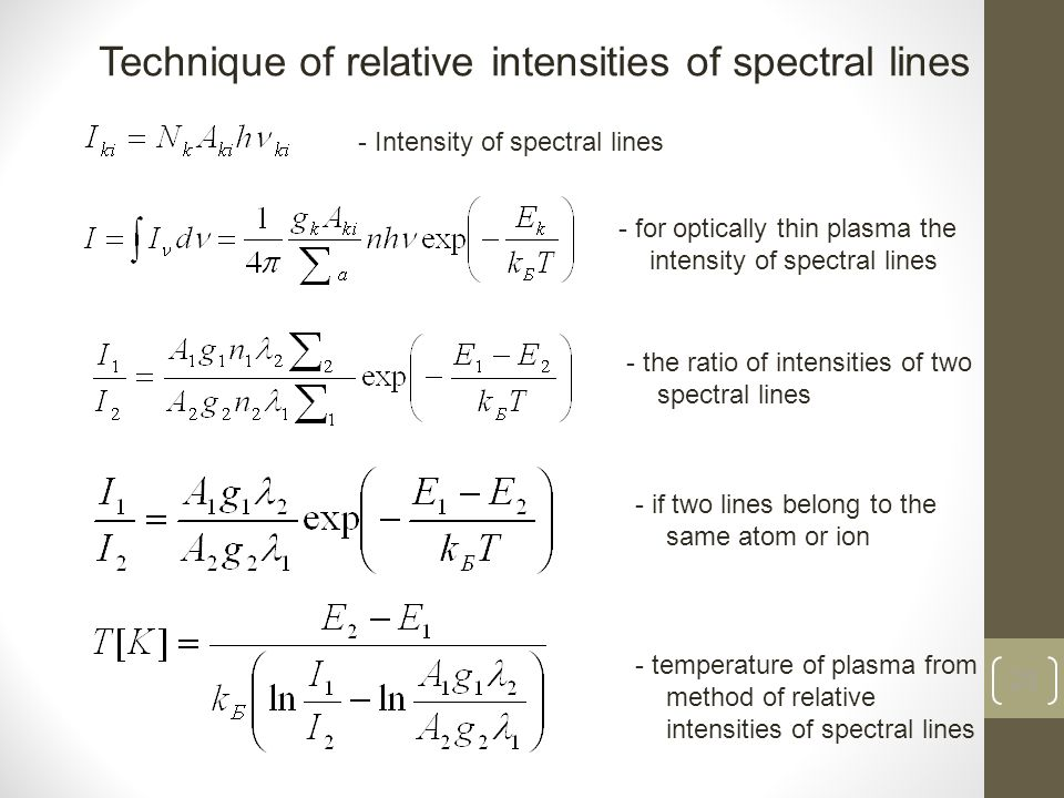 28 - temperature of plasma from method of relative intensities of spectral lines Technique of relative intensities of spectral lines - Intensity of spectral lines - for optically thin plasma the intensity of spectral lines - the ratio of intensities of two spectral lines - if two lines belong to the same atom or ion